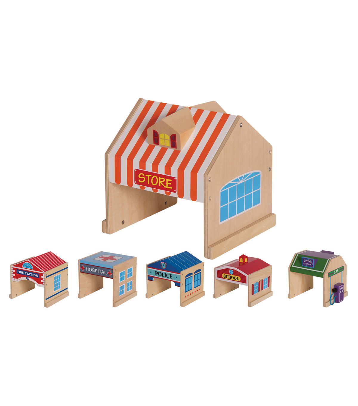 Guidecraft Community Buildings 6 Pc Set