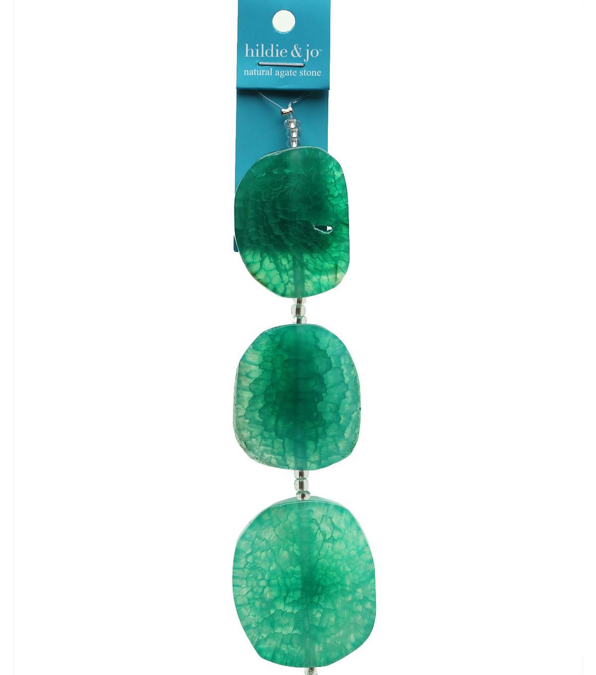 hildie & jo Dyed Agate Stone Slice Strung Beads-Aqua