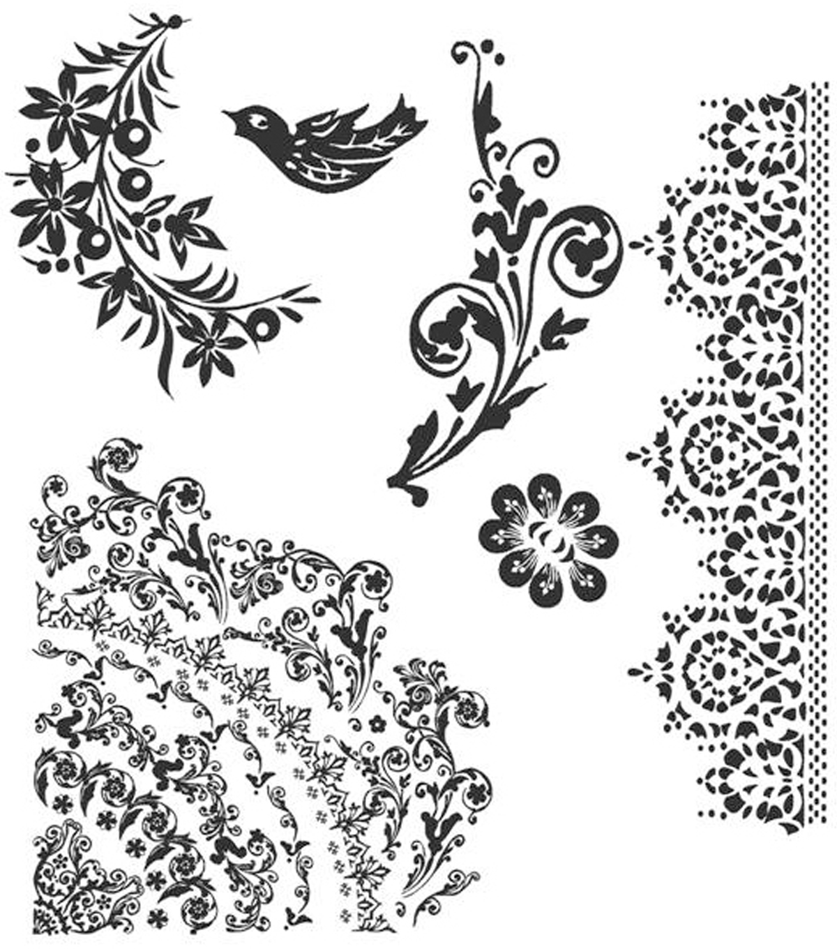 Tim Holtz Cling Rubber Stamp Set-Floral Tattoo