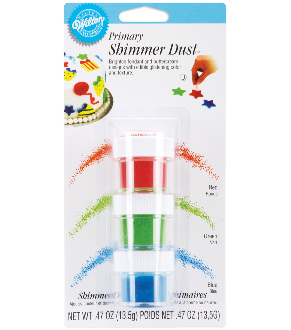 Wilton .47 oz. Shimmer Dust-Red, Green, Blue