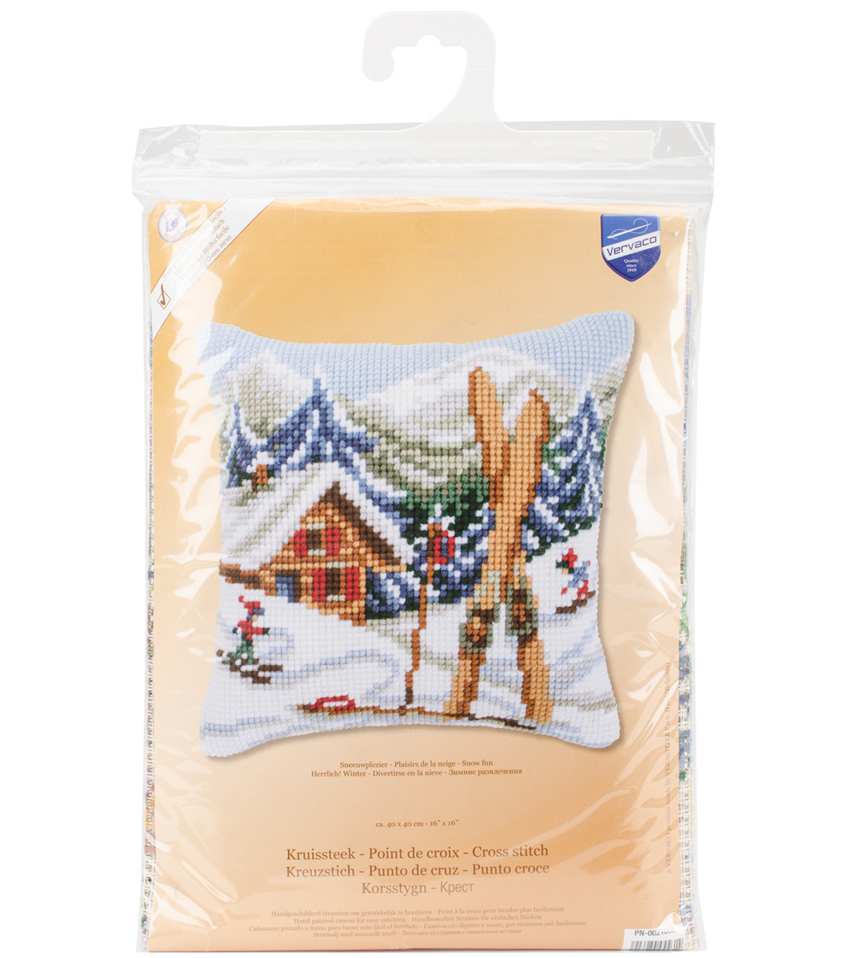 Vervaco 16\u0027\u0027x16\u0027\u0027 Needlepoint Cushion Top Kit-Ski Lodge