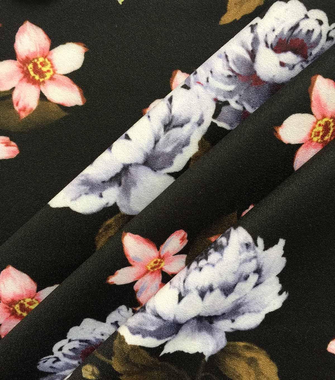 Modern Vintage Stretch Crepe Fabric 57u0027u0027 Pink Floral