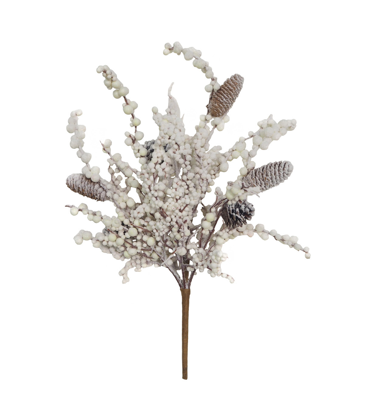 Blooming Holiday Christmas Flocked White Berry & Pinecone Bush