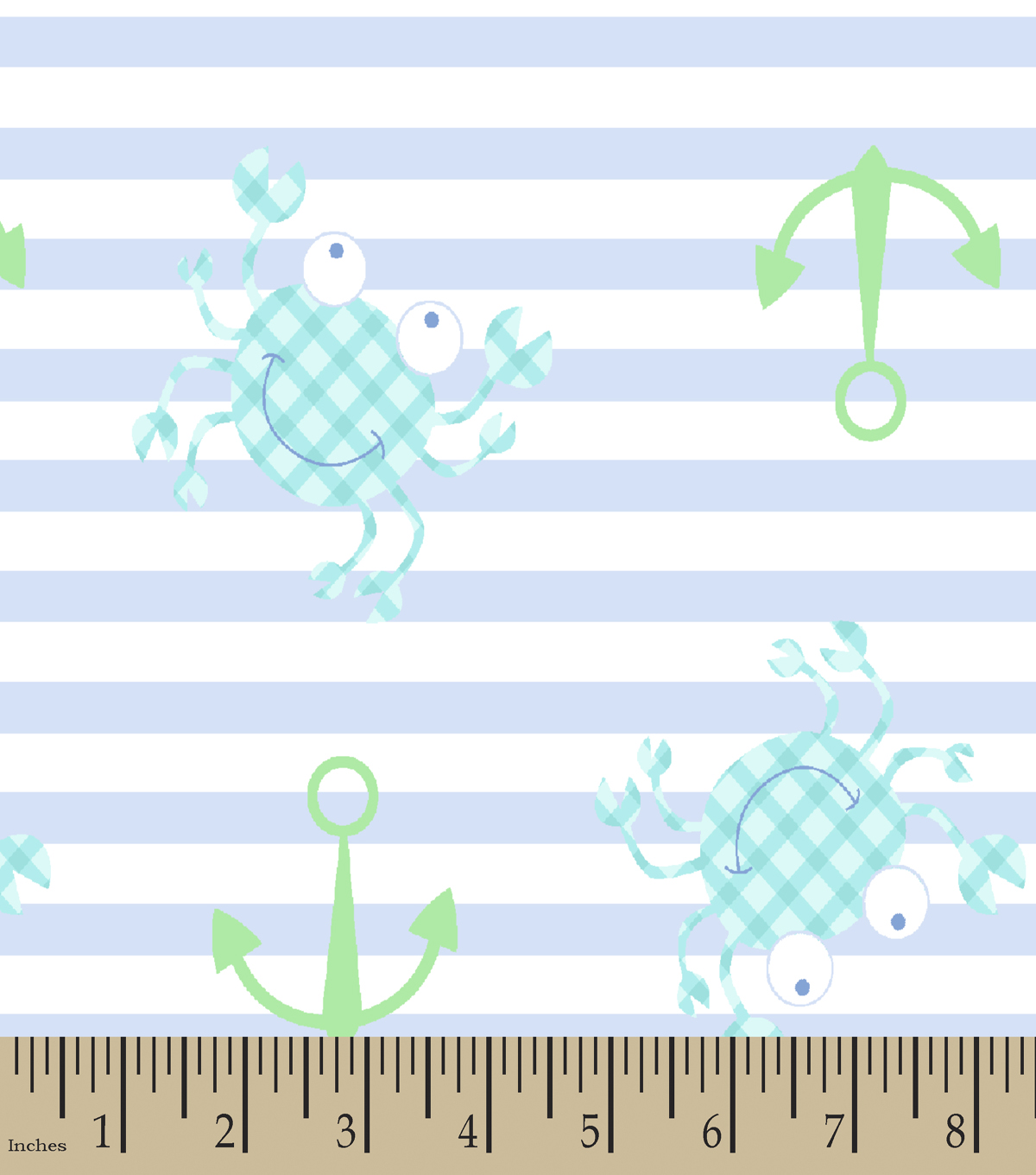 Blue Gingham Crab Print Fabric