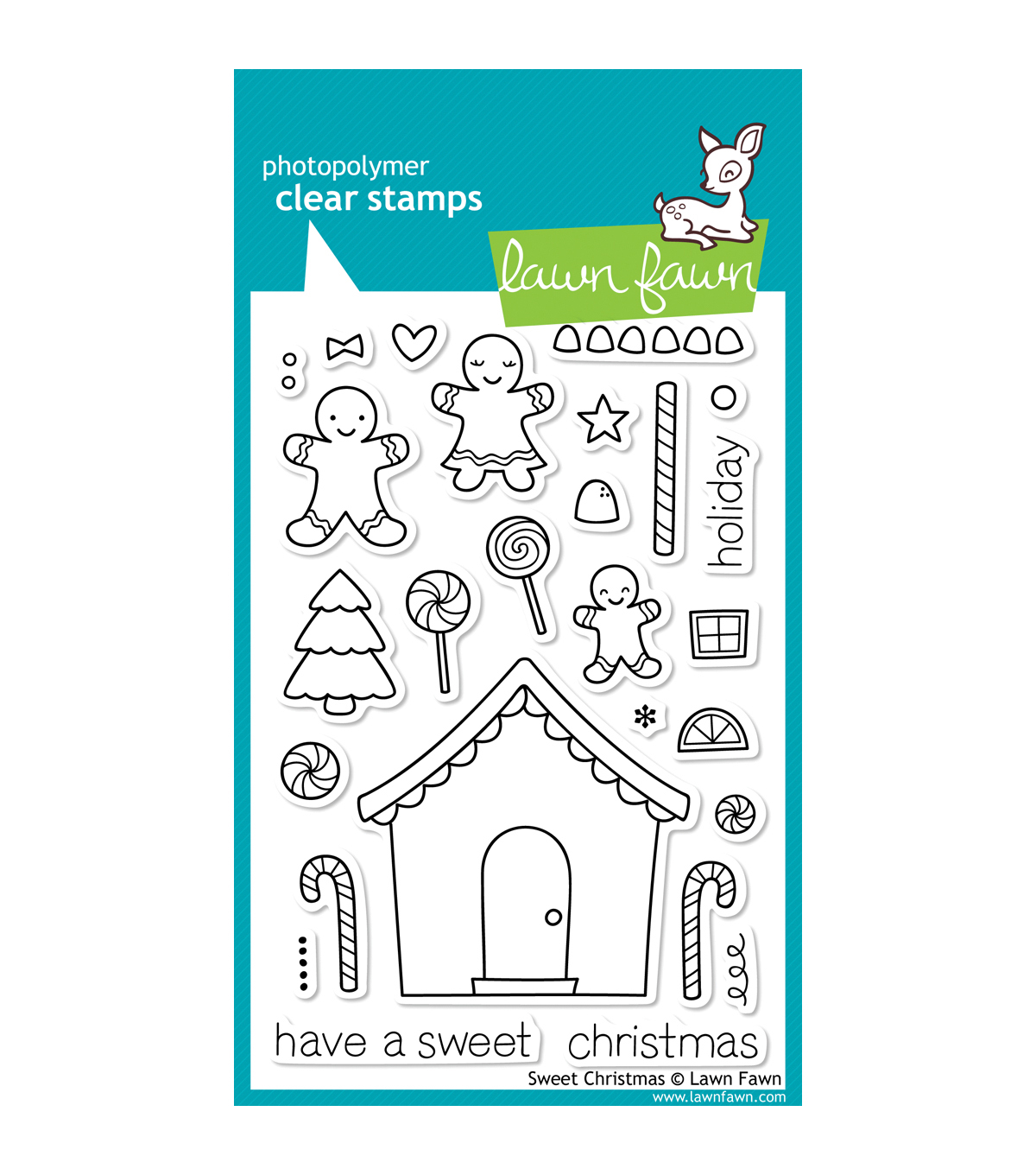 Lawn Fawn Clear Stamps 4\u0022X6\u0022-Sweet Christmas