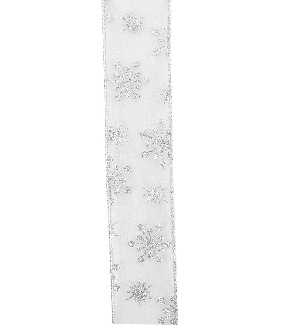 Maker\u0027s Holiday Christmas Sheer Ribbon 1.5\u0027\u0027x30\u0027-Silver Snowflakes
