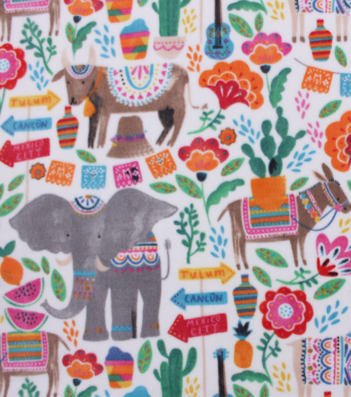 Anti-Pill Plush Fleece Fabric-Elephant Party