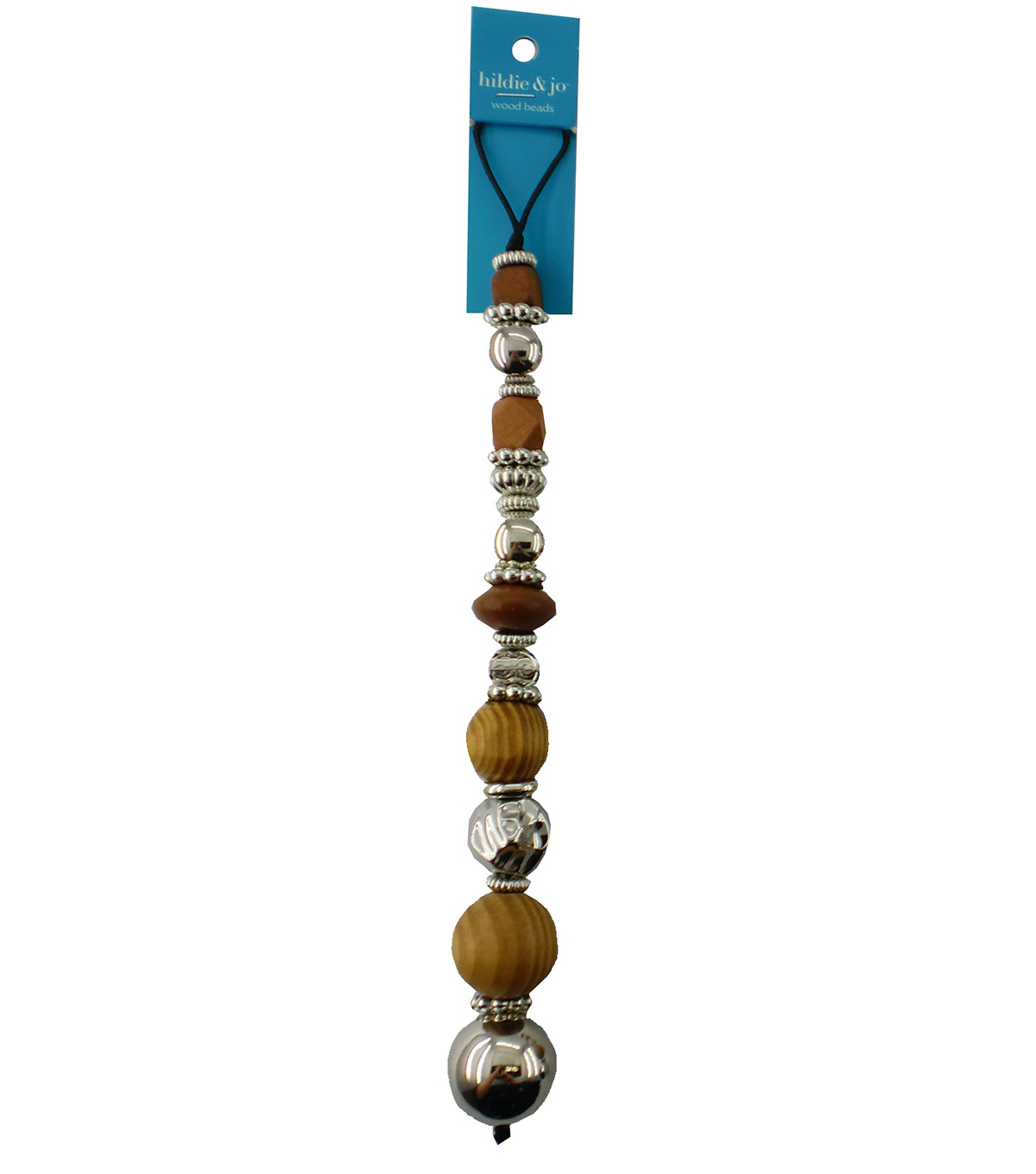 hildie & jo 7\u0027\u0027 Wood & Resin Beads Strand-Brown & Silver
