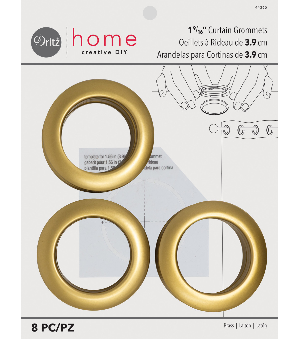 Dritz Home 1.56\u0027\u0027 Curtain Grommets 8pcs Brass, Brass
