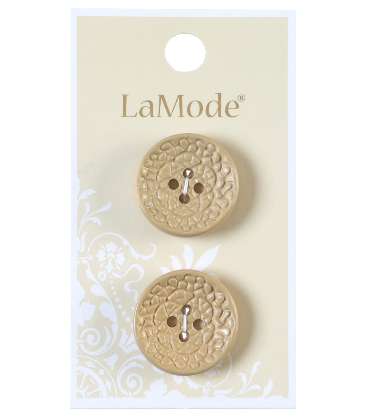 LaMode 4 Hole Tan Faux Leather Buttons