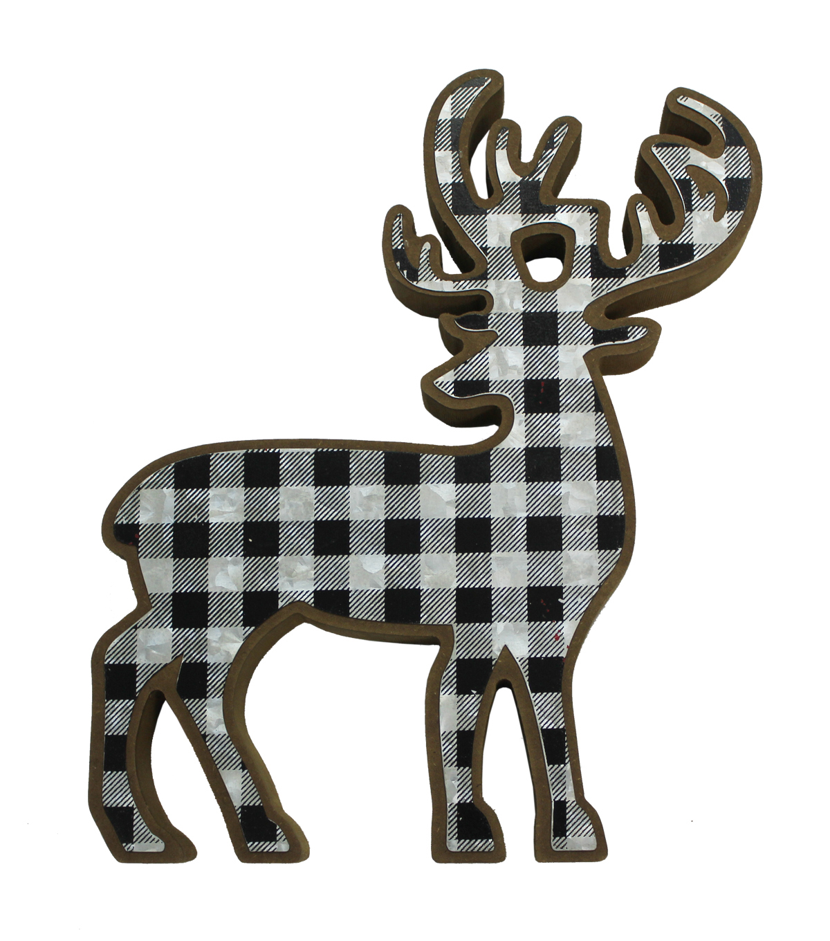 Maker\u0027s Holiday Christmas Deer Shaped Decor-Buffalo Checks