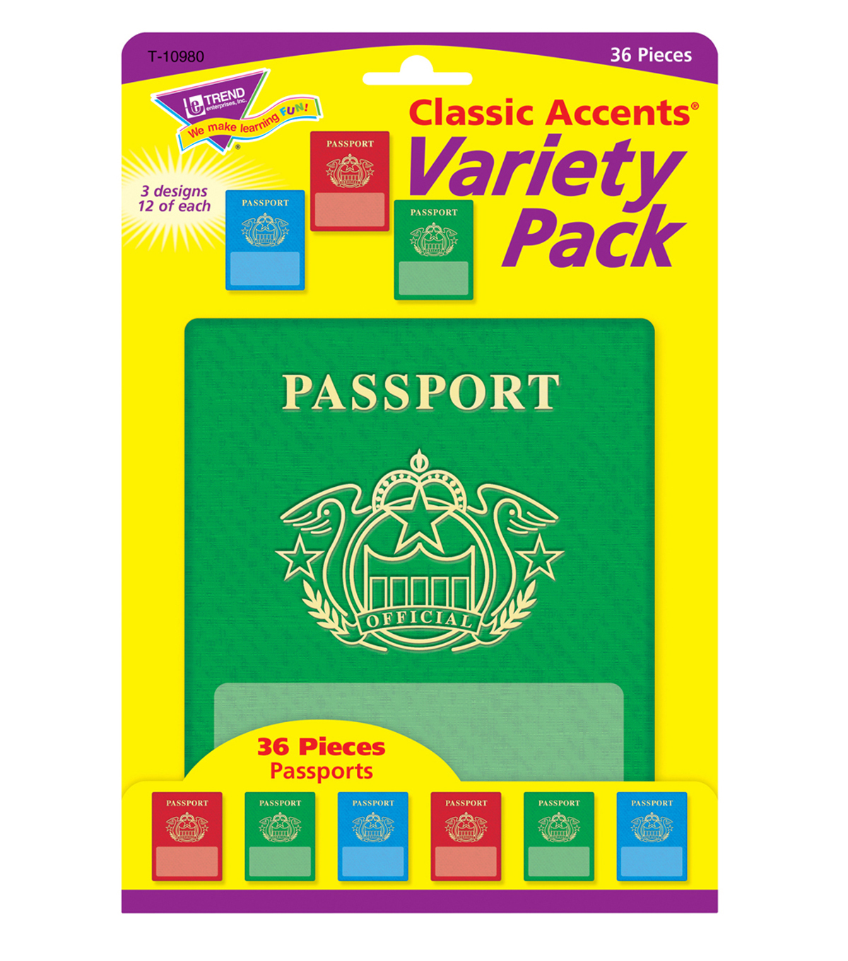 Passports Classic Accents Variety Pack, 36 Per Pack, 6 Packs