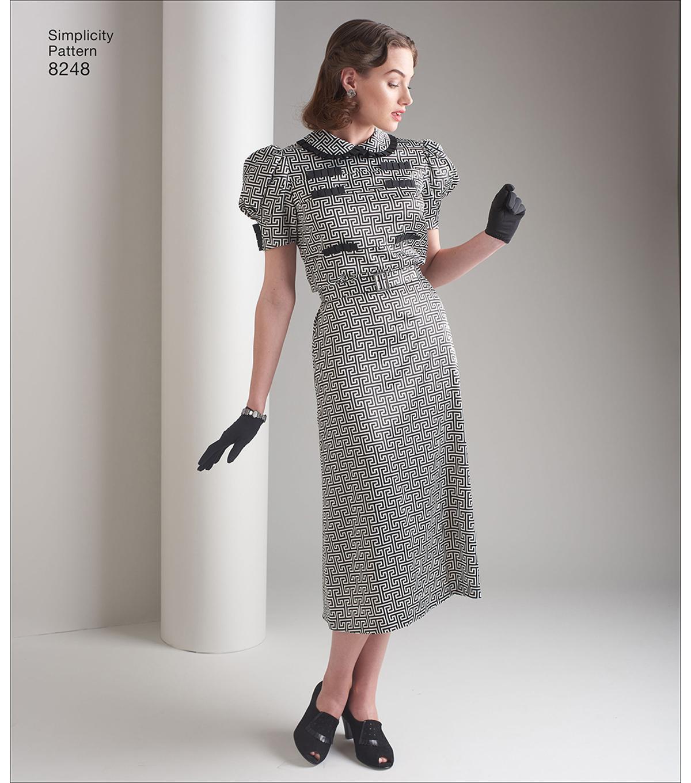 Simplicity Ladies Sewing Pattern 8248 1930s Vintage Style Dresses