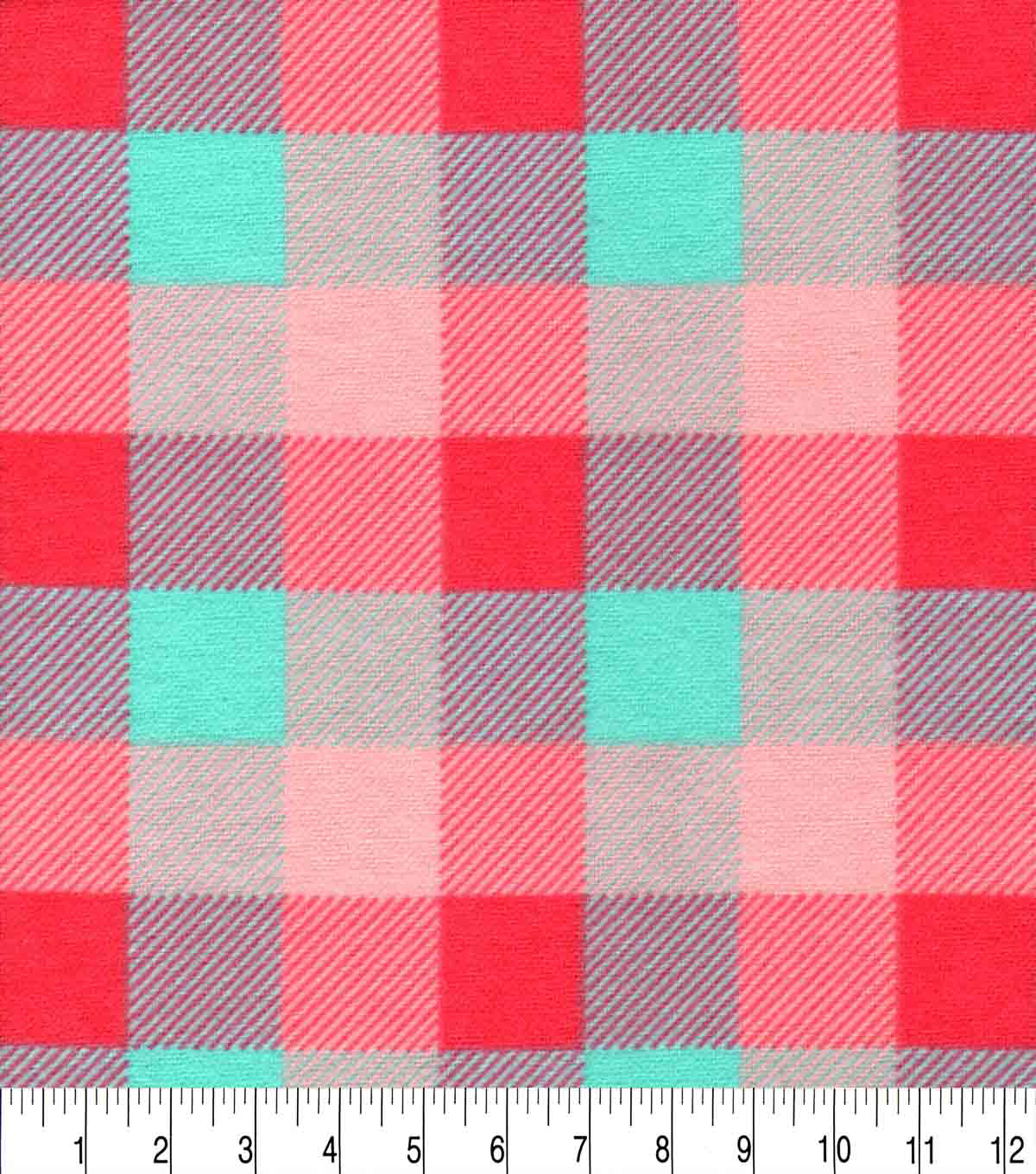 Snuggle Flannel Fabric-Coral & Mint Tri Buffalo Checks
