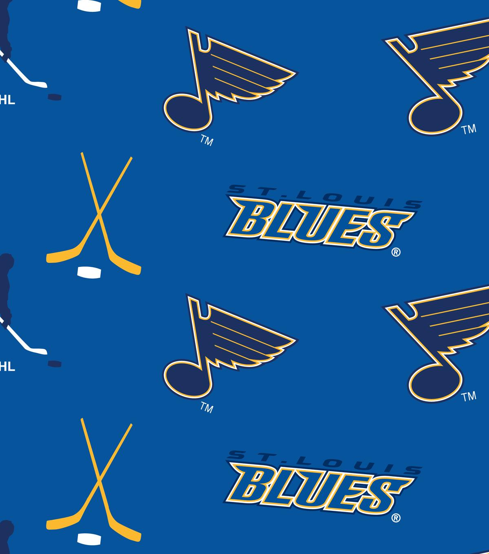 St Louis Blues Fleece Fabric Tossed Print