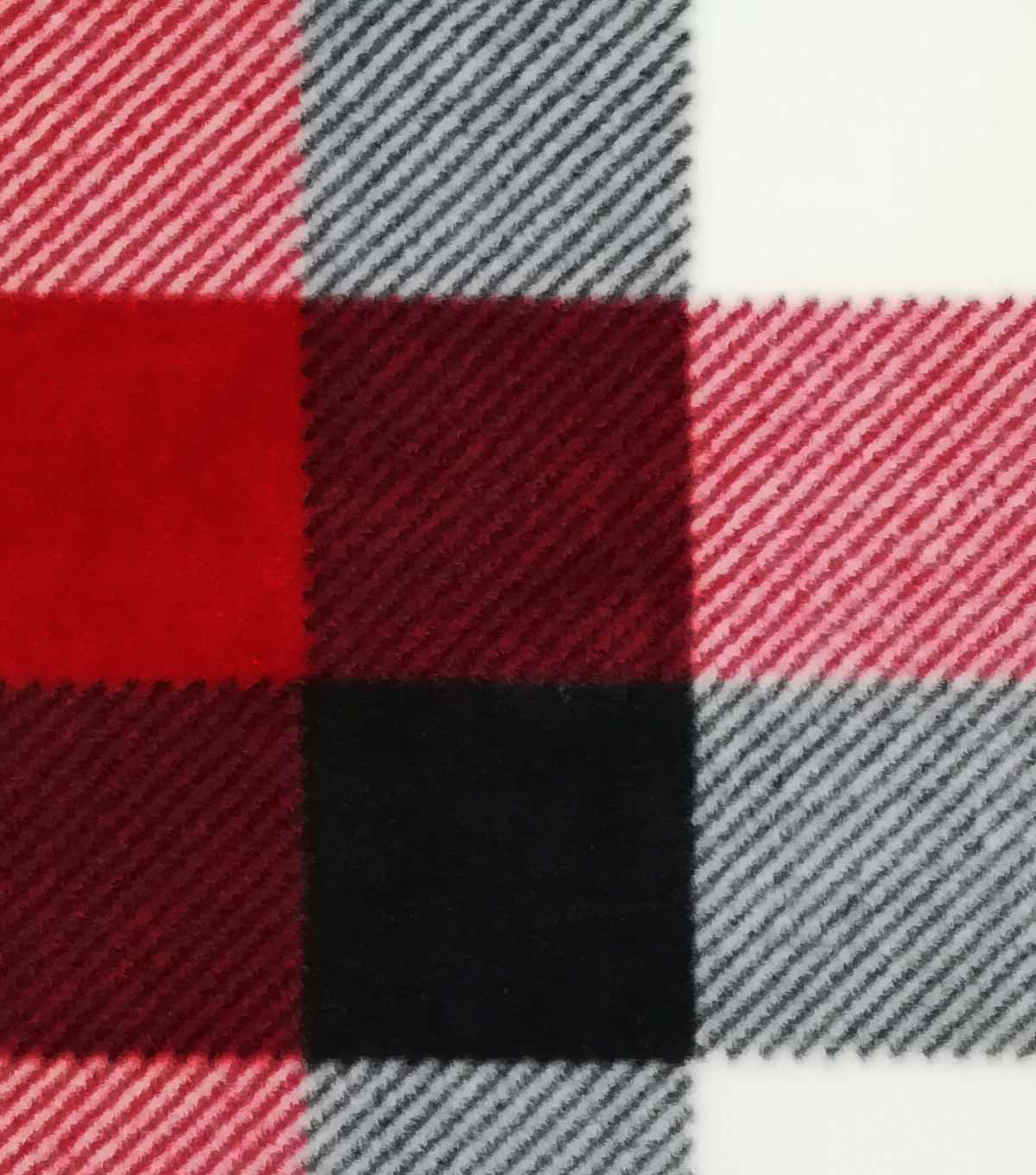 Specialty Luxe Fleece Fabric-Red & White Buffalo Checks