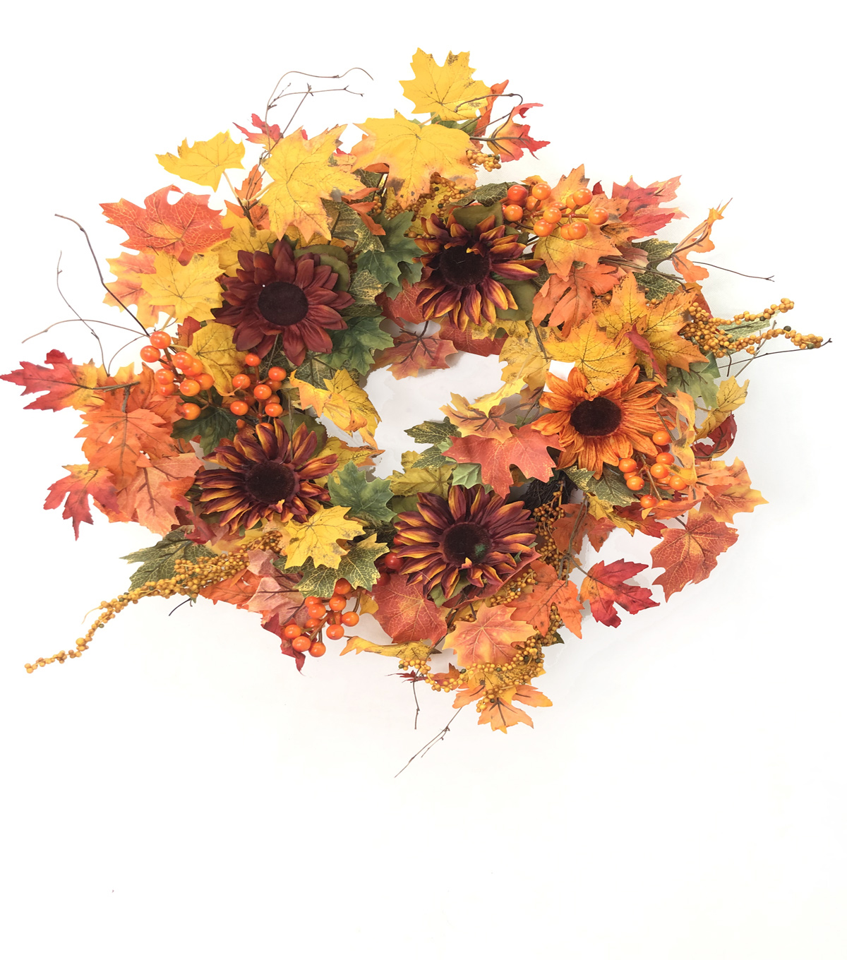 Blooming Autumn Maple Leaf & Berry Wreath