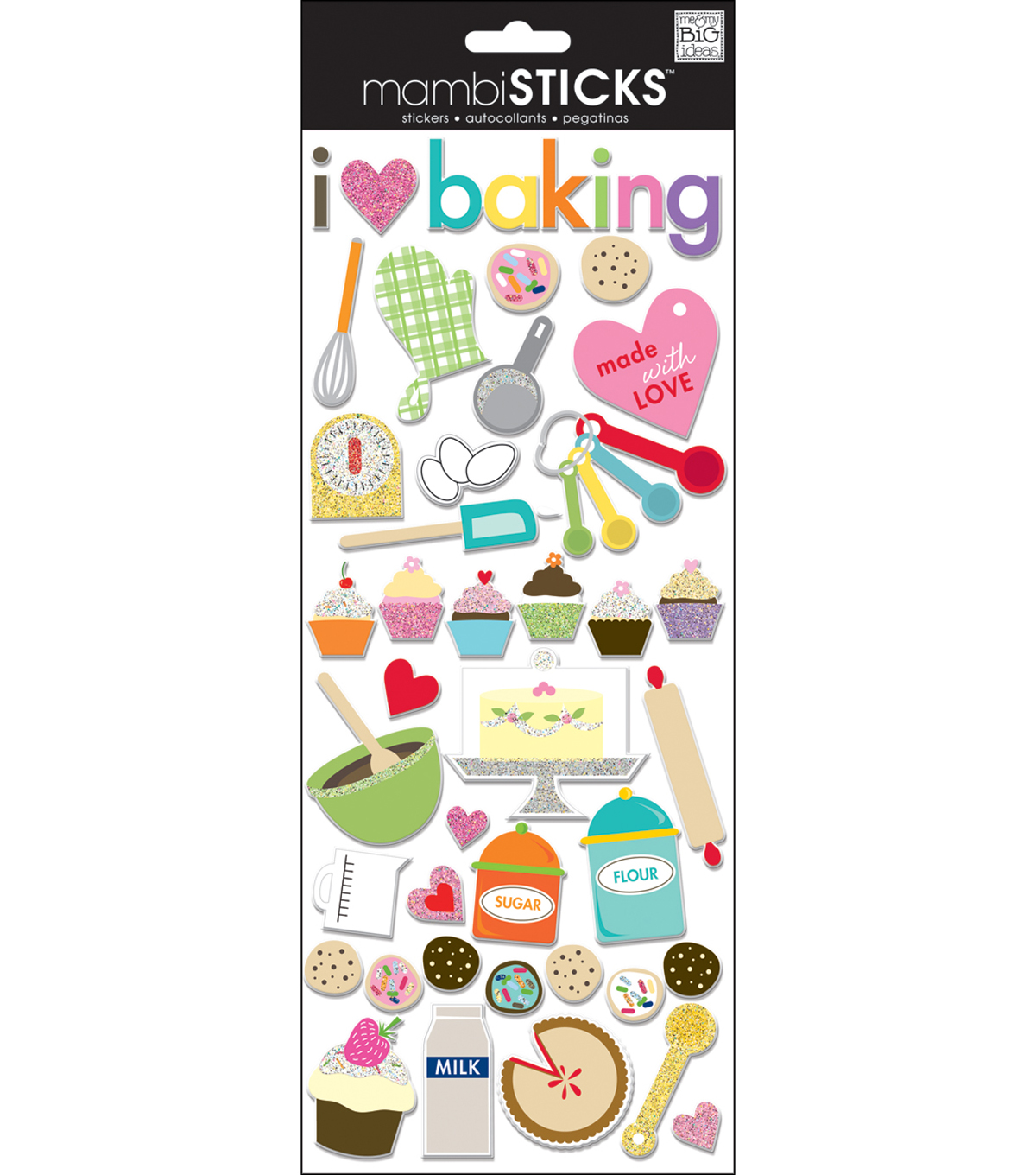 Designer Chipboard Stickers-I Love Baking