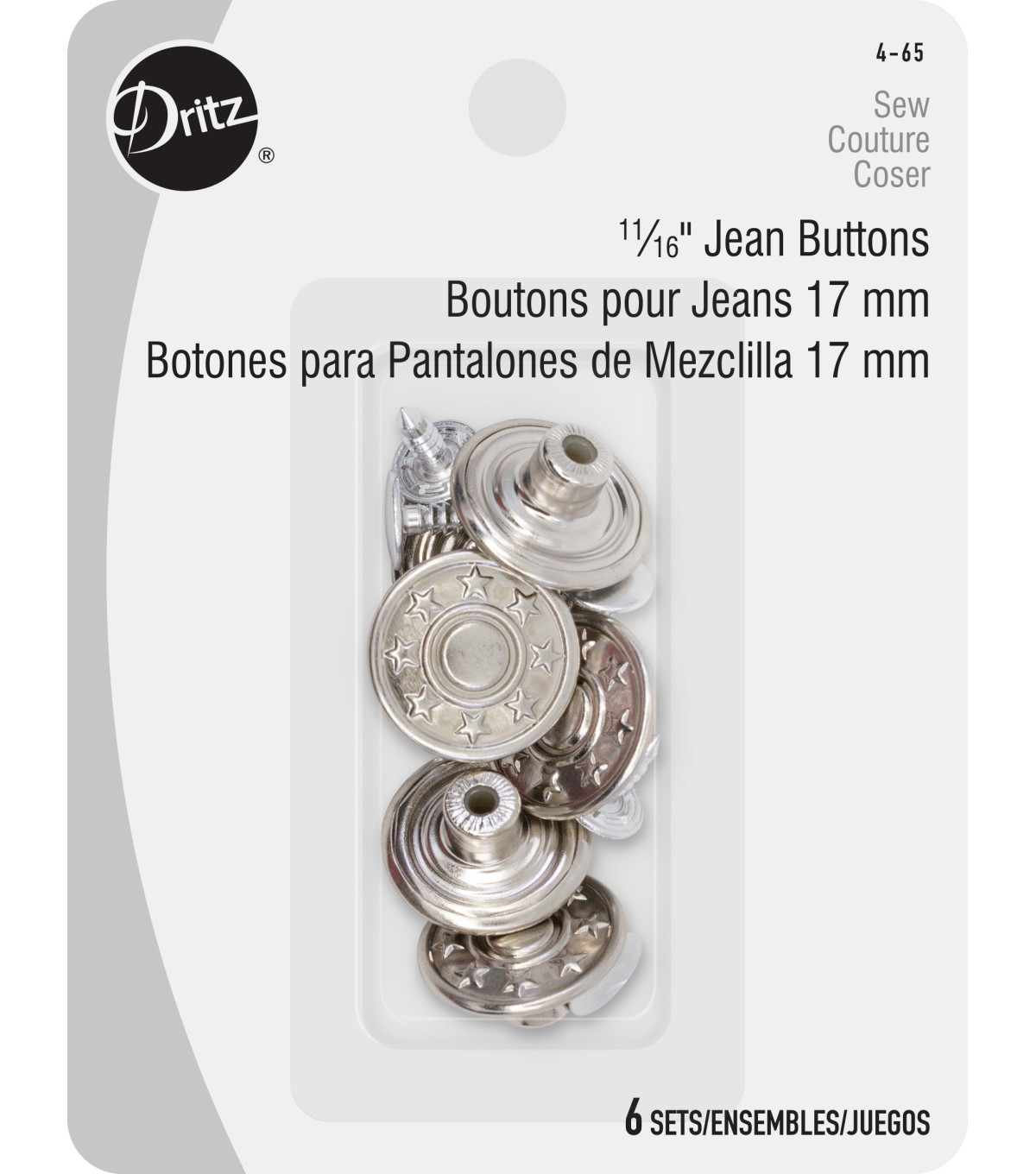 Dritz 11/16\u0027\u0027 No-Sew Bachelor Buttons 6pcs, Nickel
