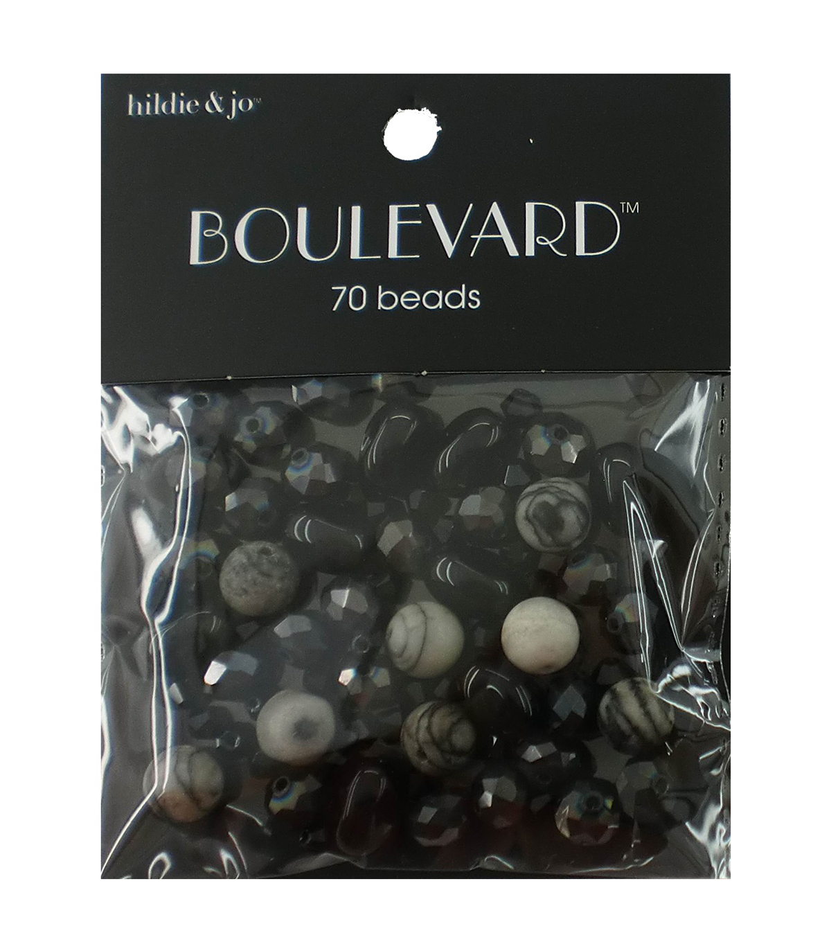 hildie & jo Boulevard 70 pk Mixed Glass Beads-Black & White