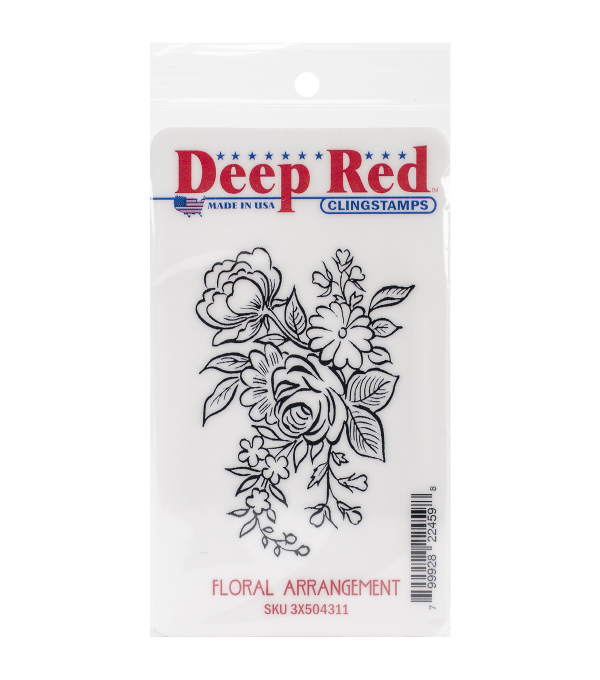 Deep Red Cling Stamp 2\u0022X3\u0022-Floral Arrangement