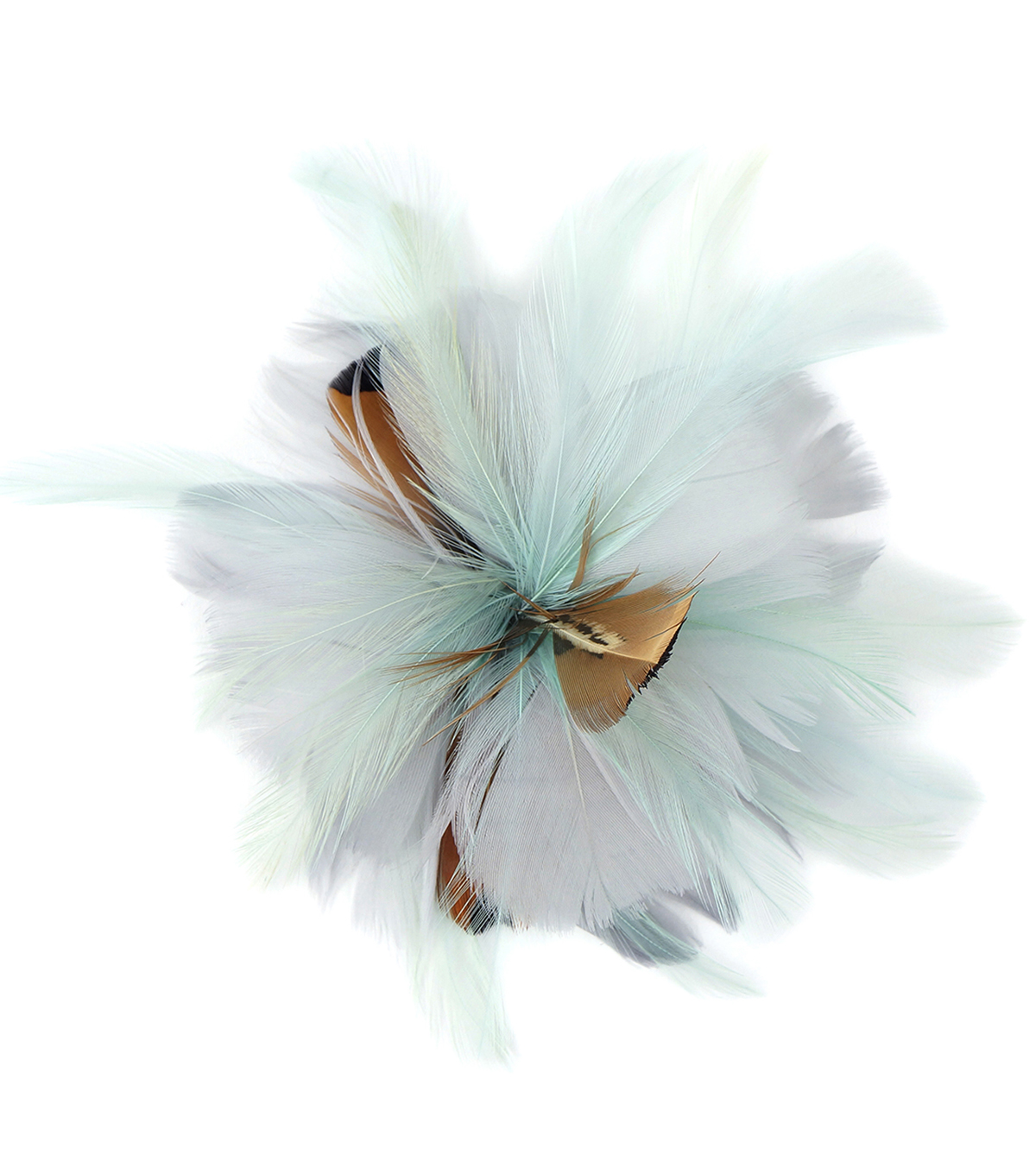 Feather Flower Accent-Mint Silver