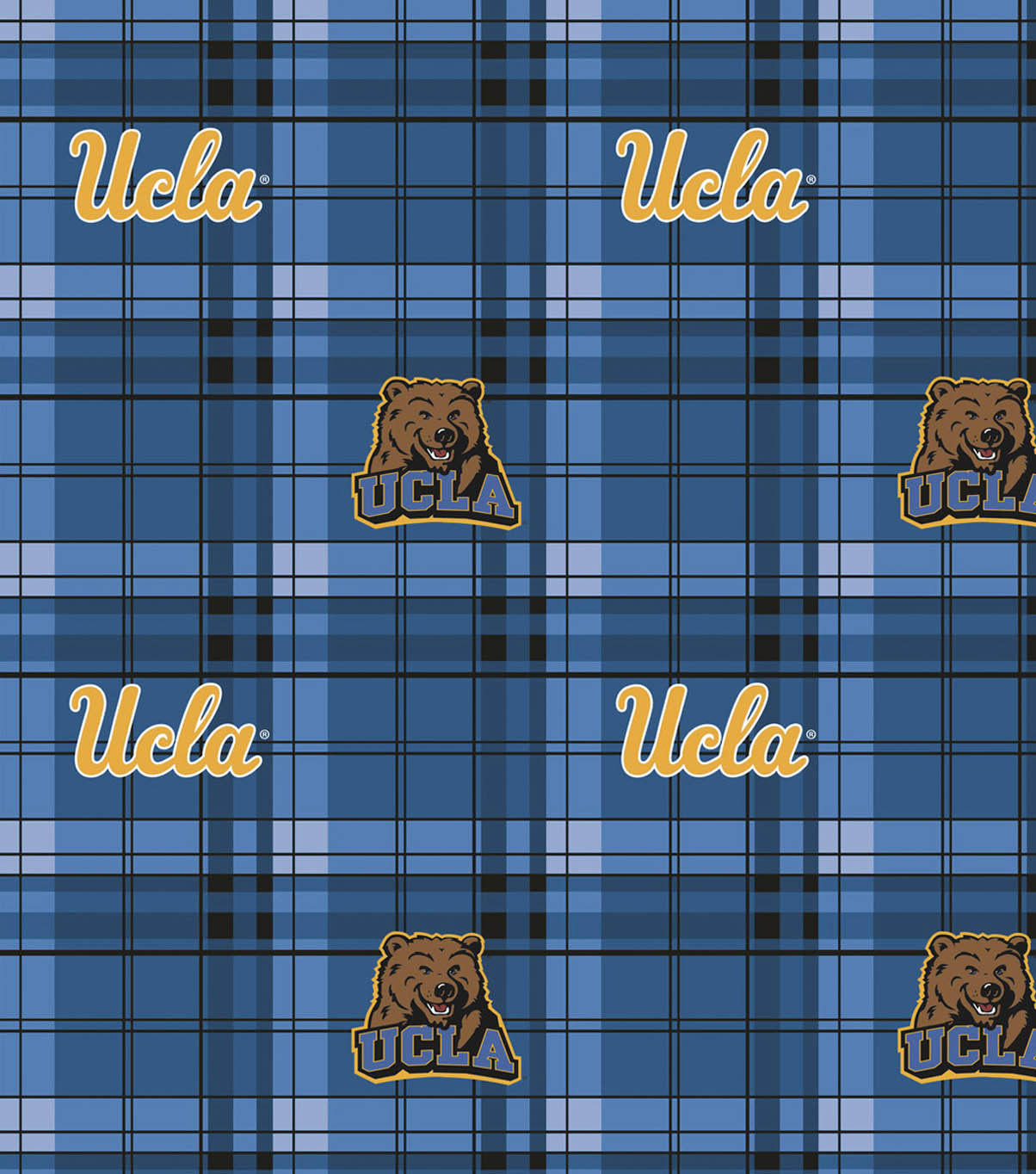 University of California, Los Angeles Bruins Fleece Fabric -Plaid