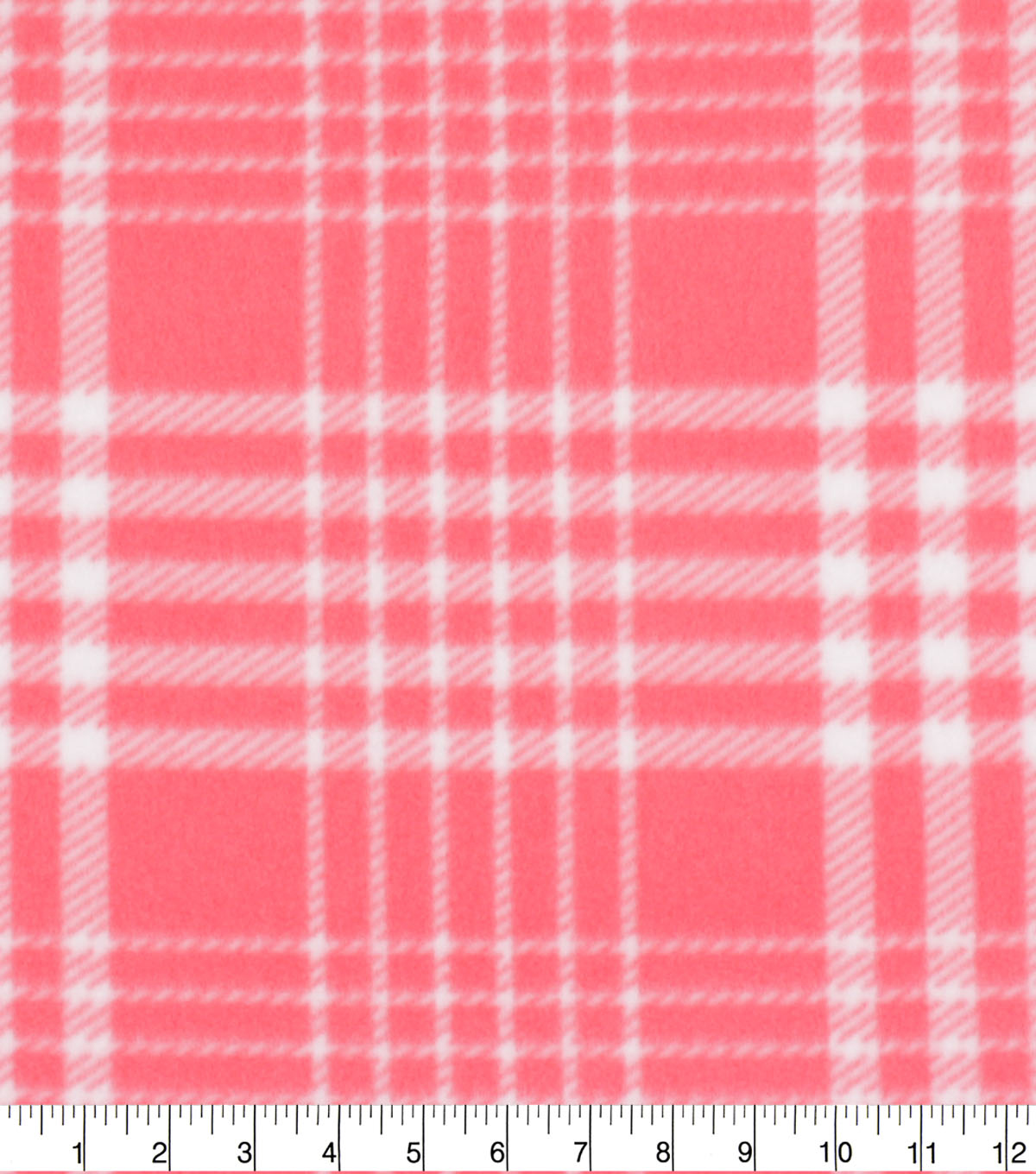 Blizzard Fleece Fabric-Coral & White Plaid
