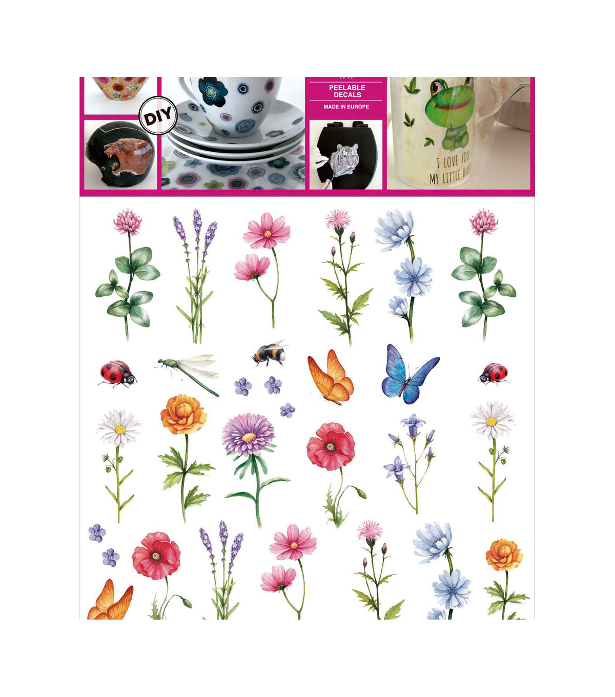 Decorprint DIY Peelable Decals-Wild Flowers
