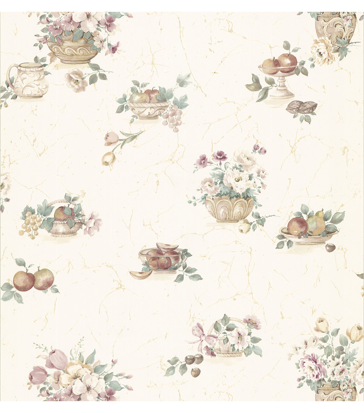 Milena Mauve Floral And Fruit Wallpaper Sample