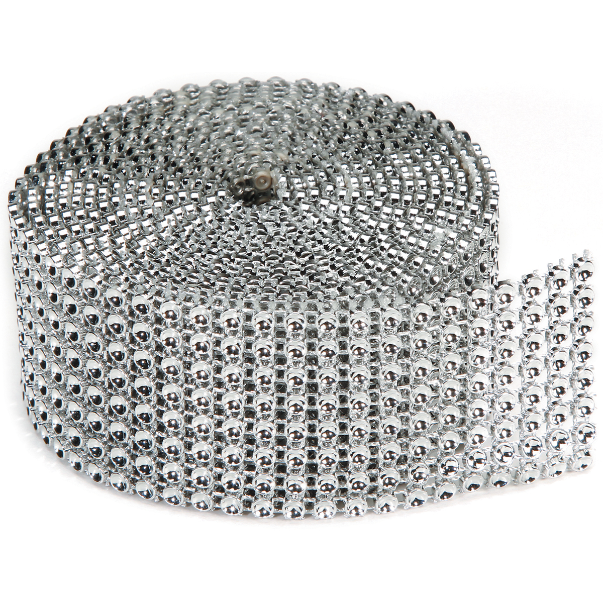 1-row Darice BLING ON A ROLL SILVER Mesh Ribbon 3mm x 10 Yards