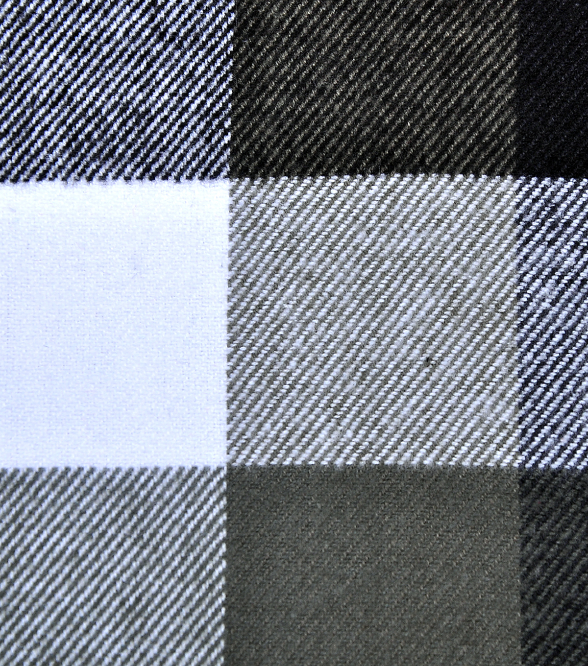 Plaiditudes Brushed Apparel Fabric 44\u0027\u0027-White & Gray Buffalo Check