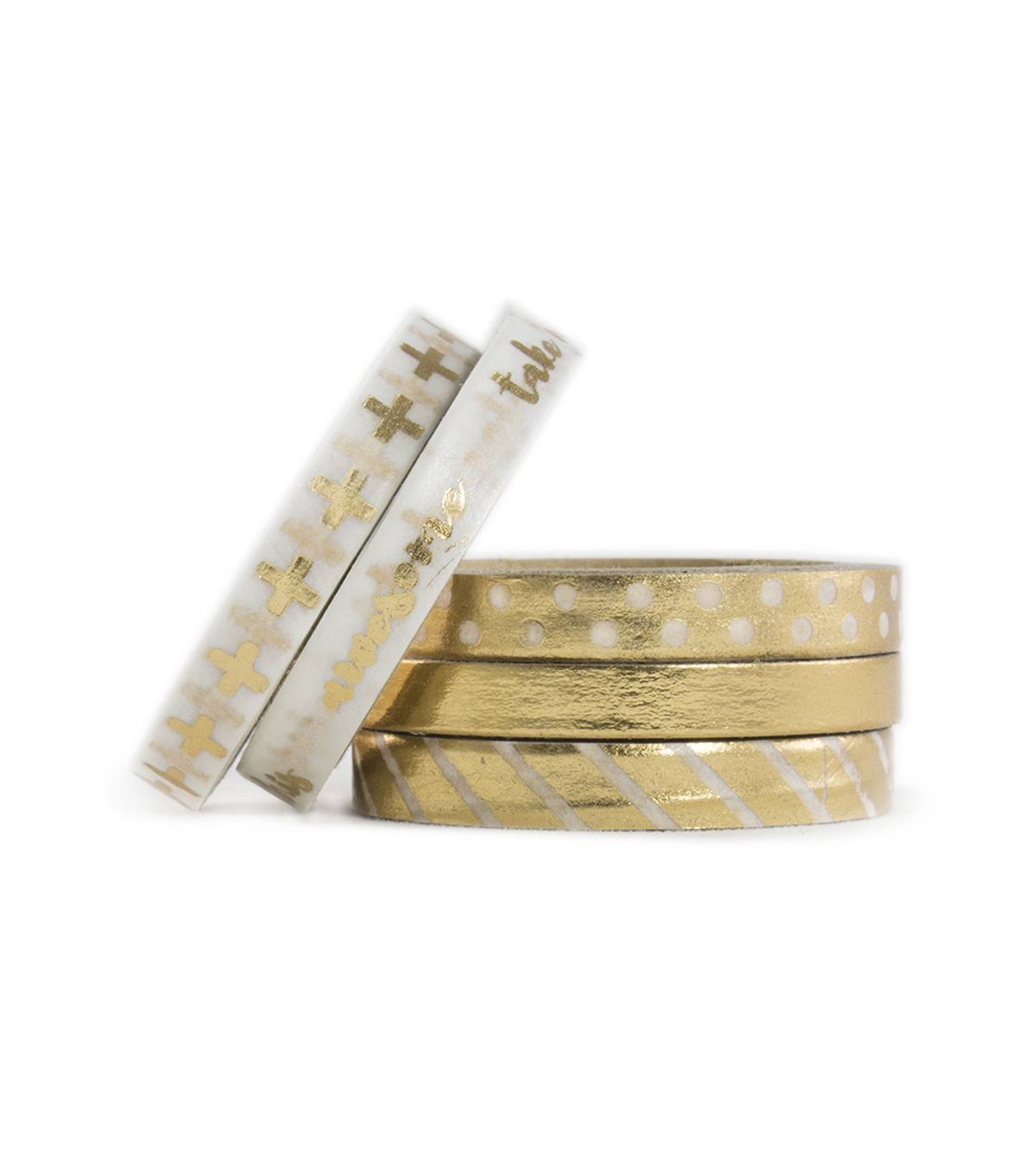 Park Lane 5 pk Micro Washi Tapes 0.24\u0027\u0027x5 yds-Gold Foil Basics