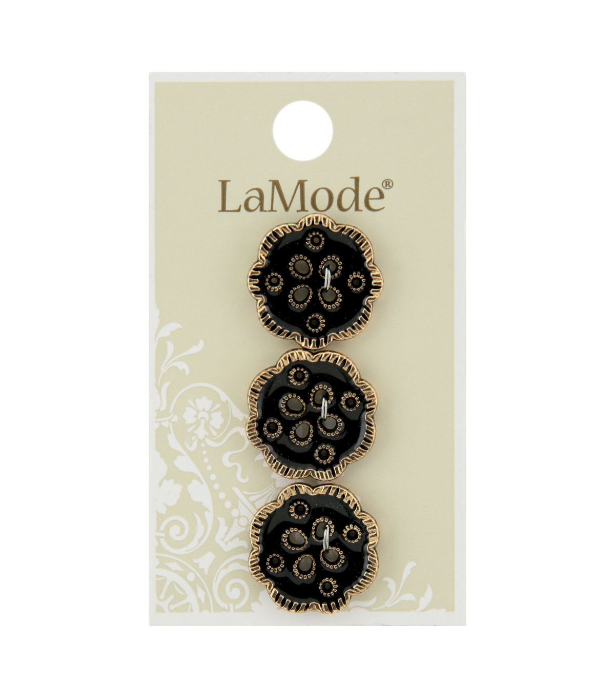 La Mode 3 pk 20 mm 4 Hole Buttons-Black & Gold