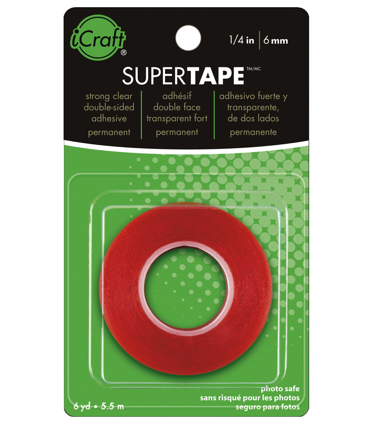 Super Tape 1/4\u0022 roll. Strong Double-Sided clear Tape with Red Liner, Heat and Water resistant