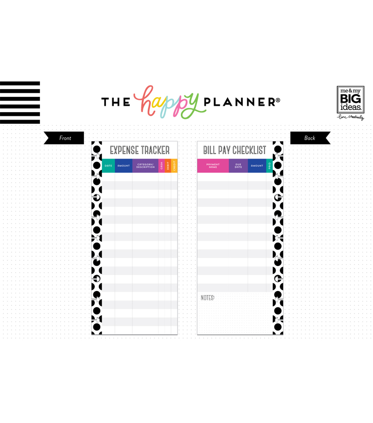 The Happy Planner Classic Half Sheet Papers-Budget
