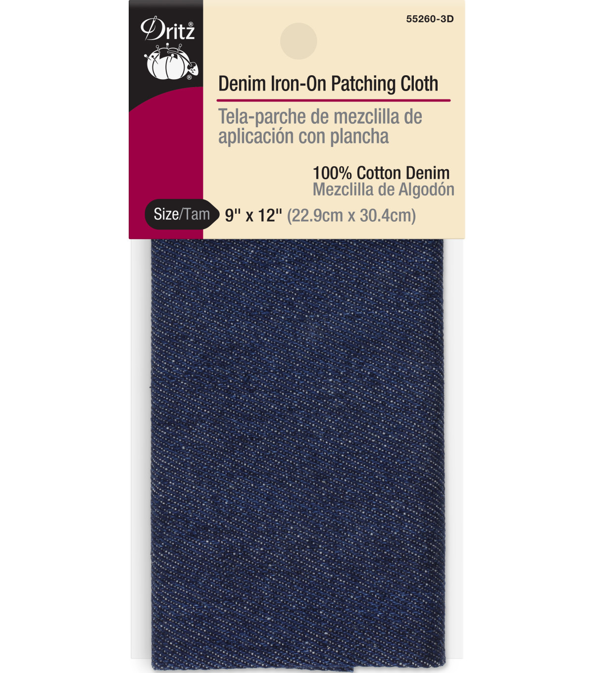 Dritz Iron-On Patching Cloth-9\u0022x12\u0022 Denim
