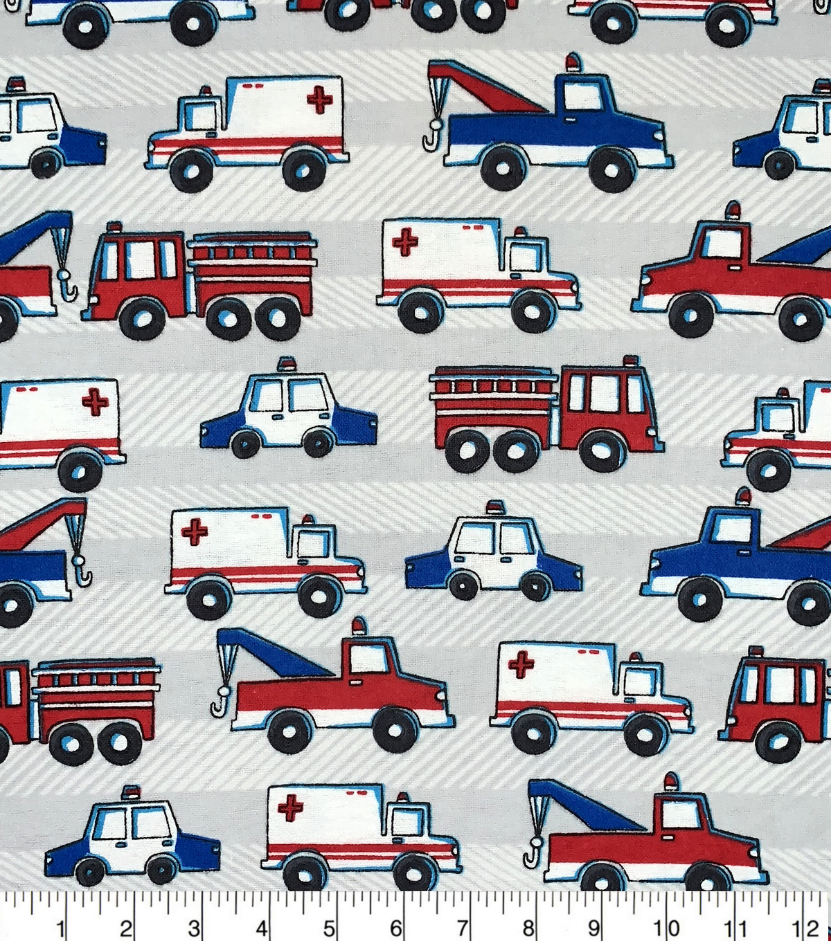 Snuggle Flannel Fabric-Emergency Cars