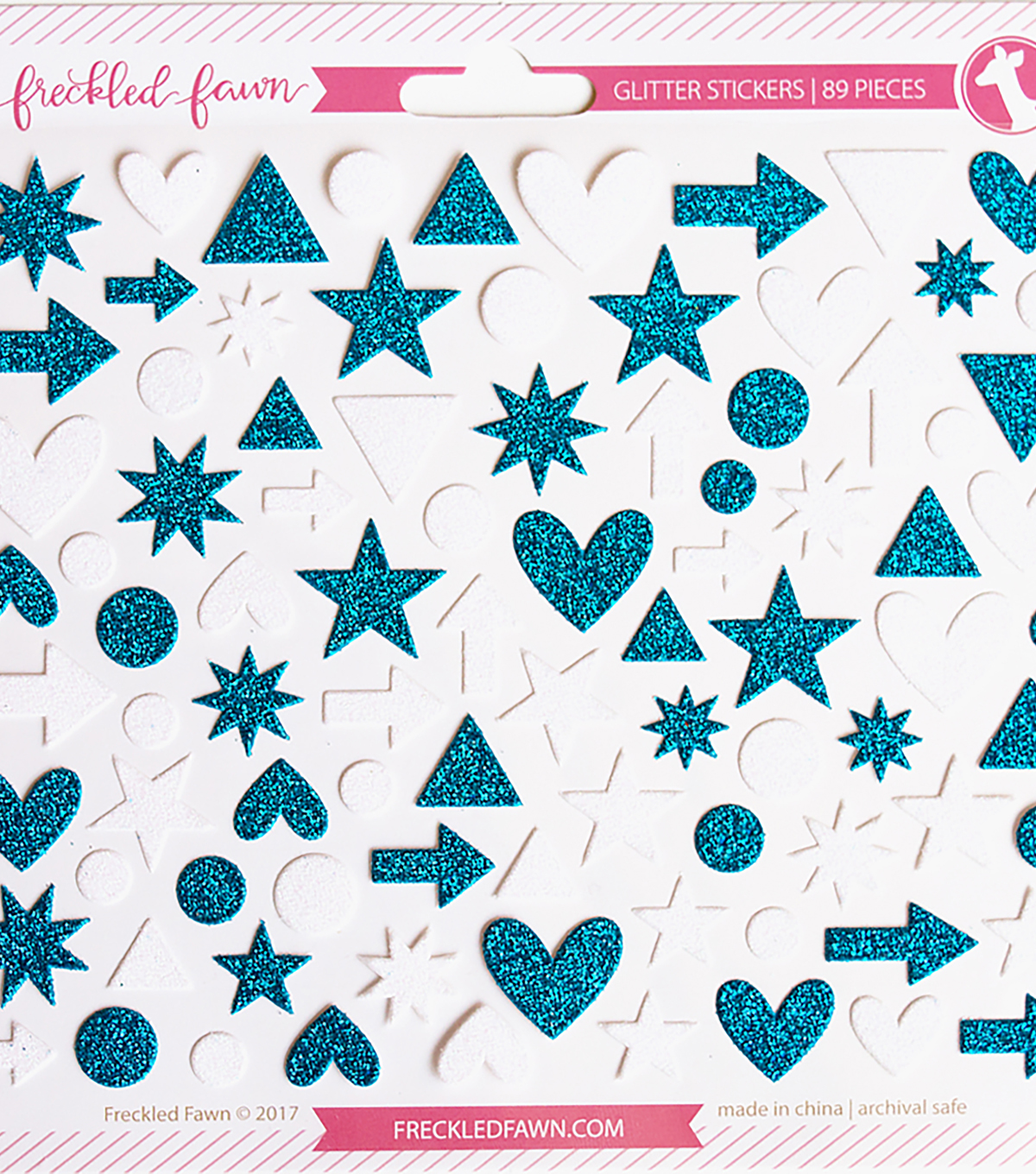 Freckled Fawn Glitter Icon Stickers-Blue & White