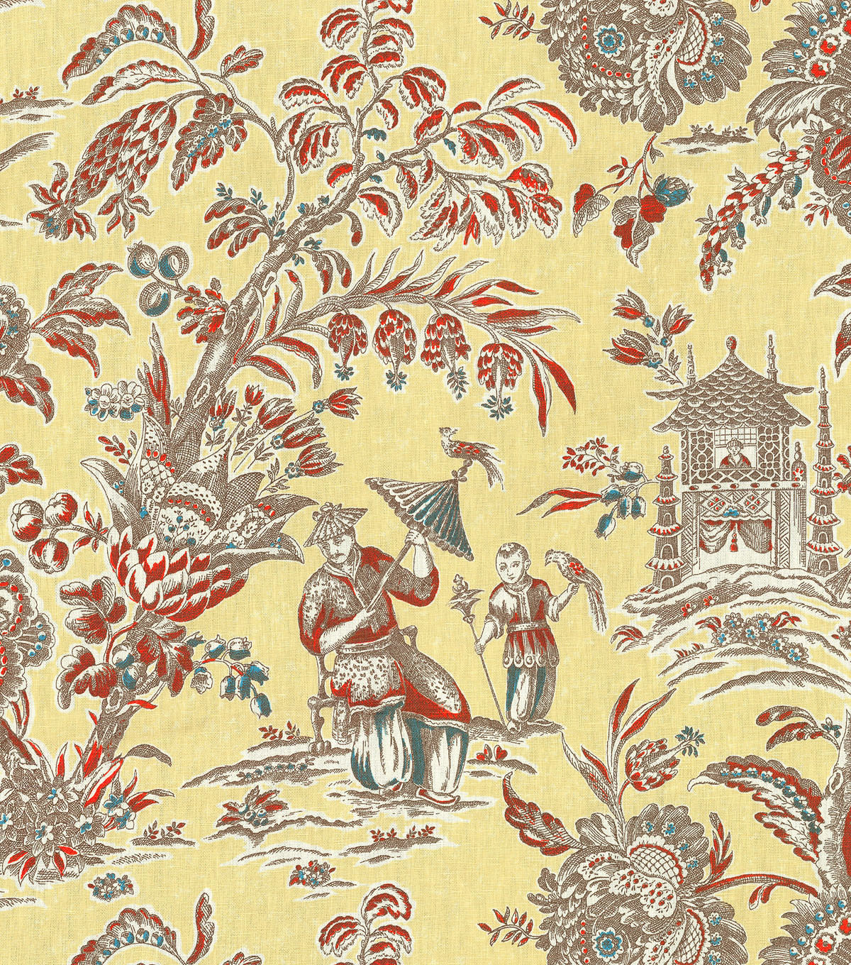 P/K Lifestyles Lightweight Decor Fabric 54\u0022 Asian Arcadia/Persimmon
