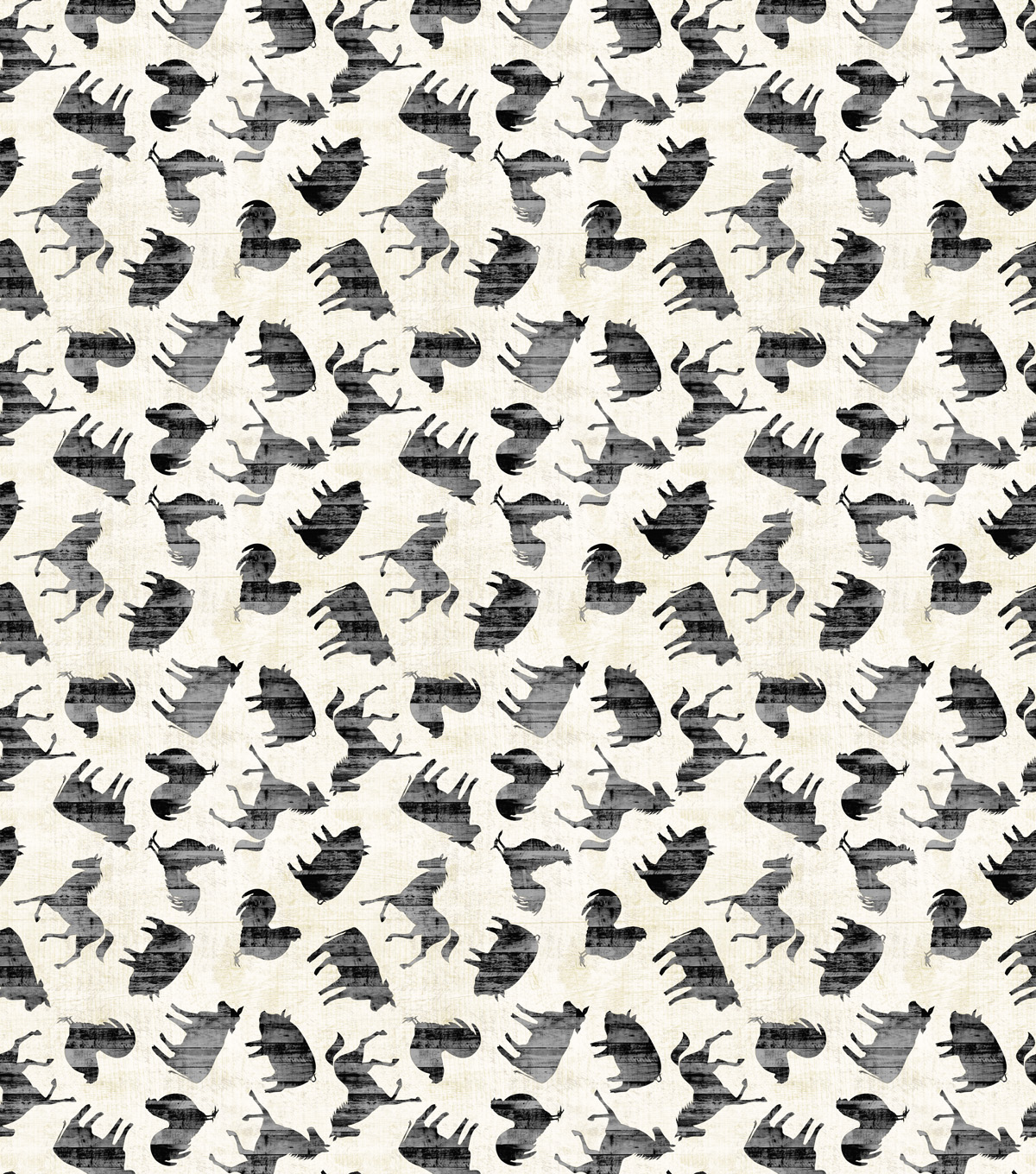 Novelty Cotton Fabric-Silhouette Farm Animals