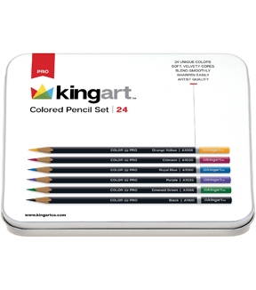 KINGART Pencil Set In Tin Case 24/Pkg-Assorted Colors