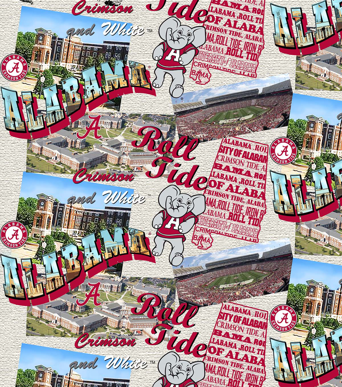 University of Alabama Crimson Tide Cotton Fabric-Scenic Map