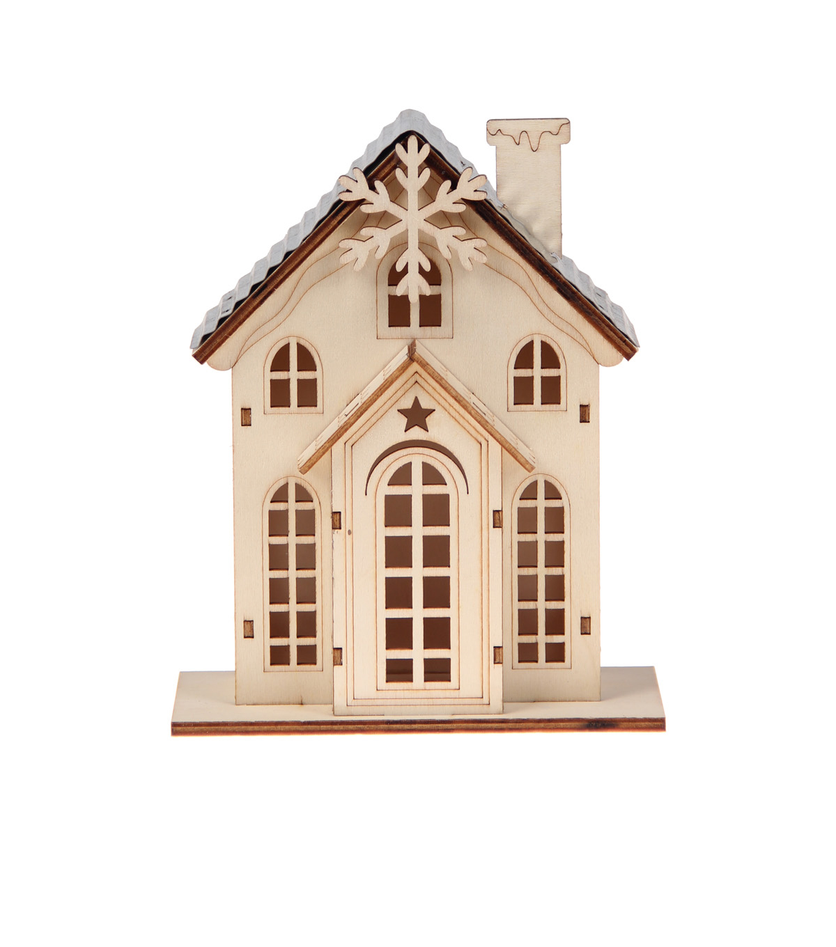Handmade Holiday Craft Wooden House with Snowflake & Metal Roof