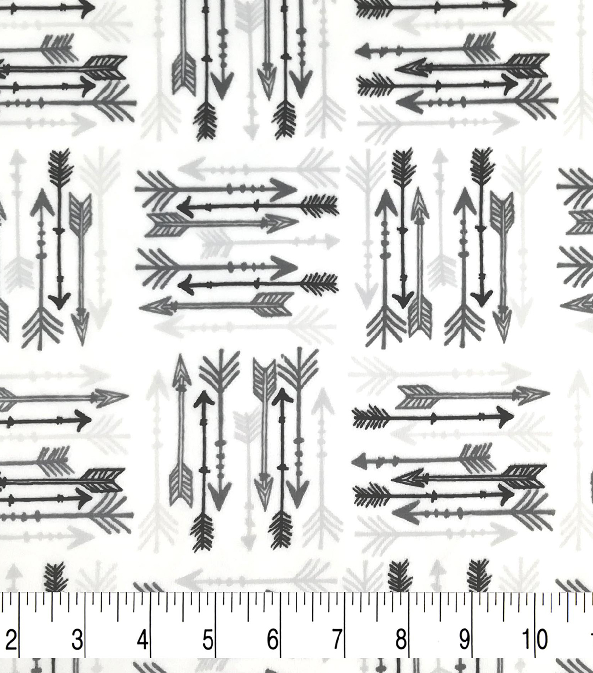 Soft & Comfy Fleece Fabric-Black & Gray Arrows on White