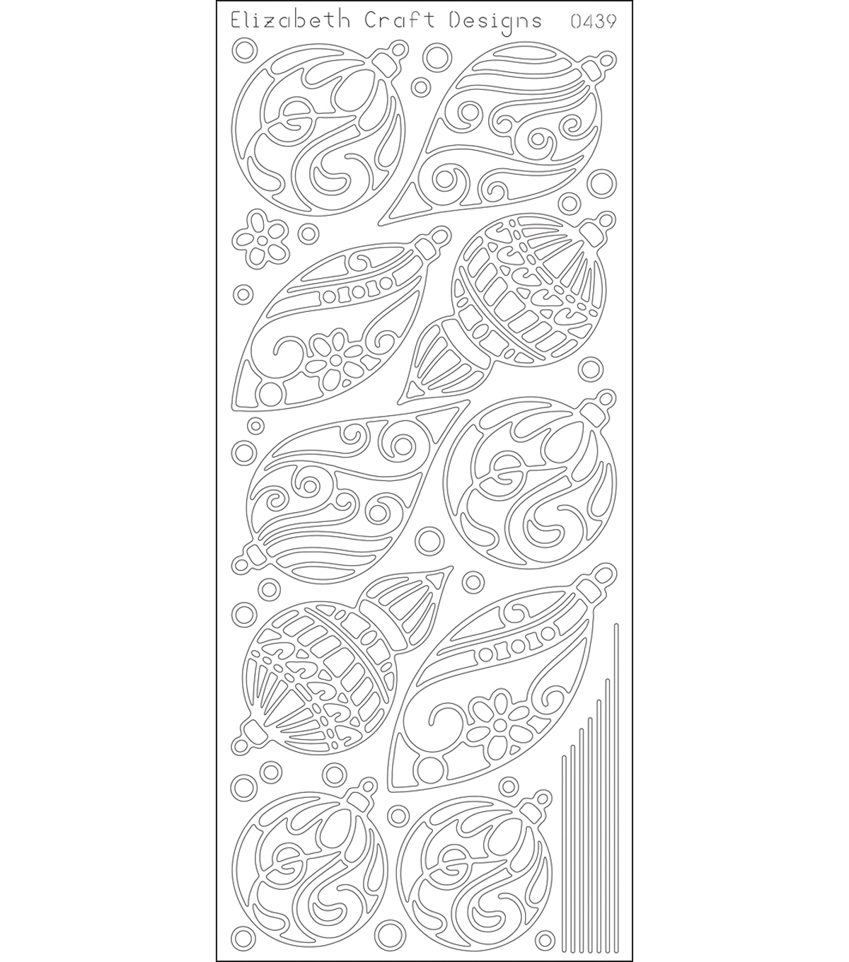 Peel Off Stickers 4\u0022X9\u0022 Sheet-Silver