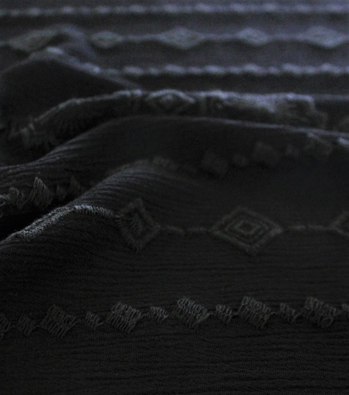 Silky Crinkle Embroidered Apparel Fabric 45\u0027\u0027-Black