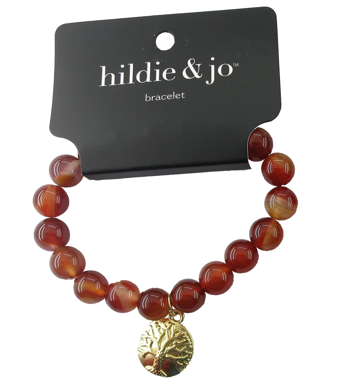 hildie & jo Beads Stretch Bracelet-Red with Tree of Life Charm