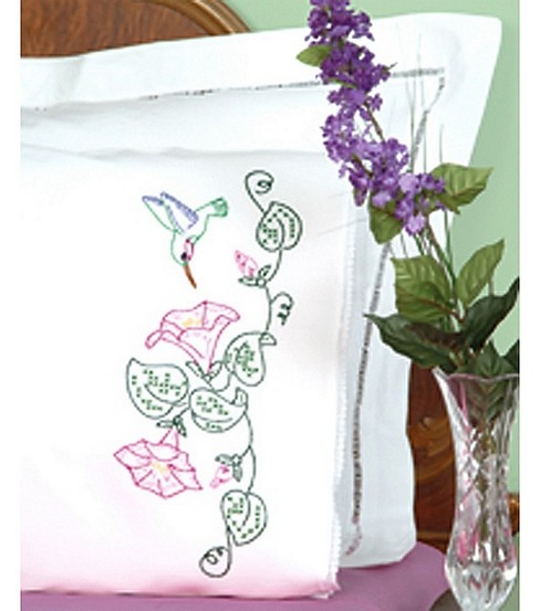 Jack Dempsey Stmpd Pillowcases-Hummingbird & Morning Glories