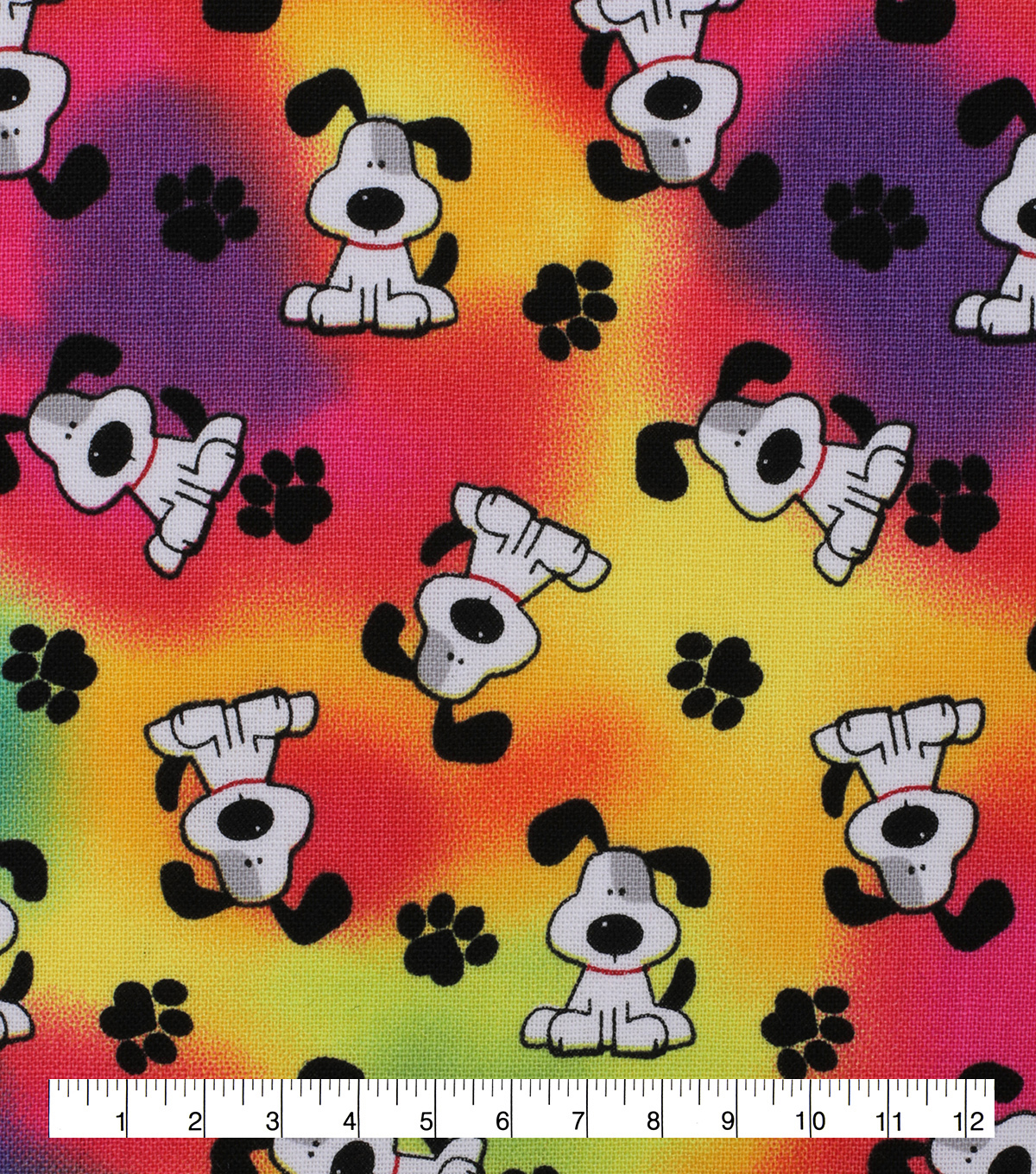 Novelty Cotton Fabric-Tossed Pup Tie Dye